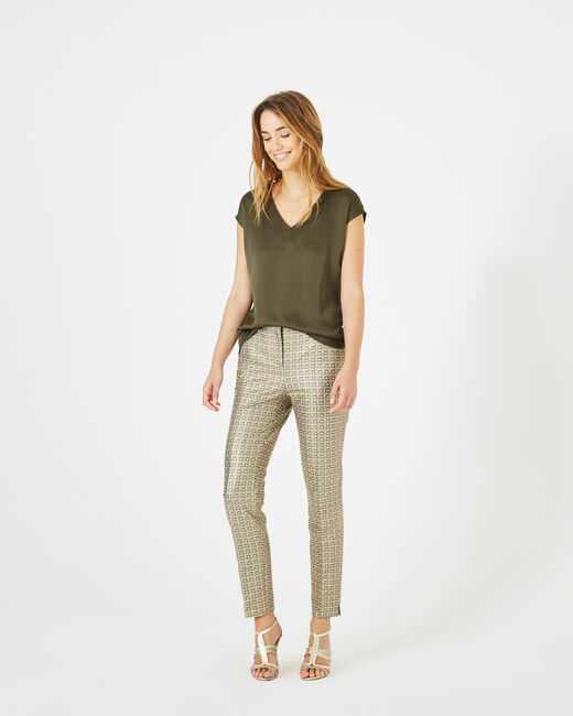 Pantalon doré imprimé Viva (1) - 1-2-3