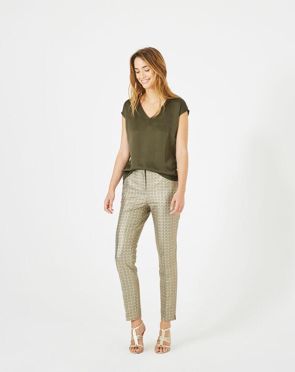 Pantalon doré imprimé viva à