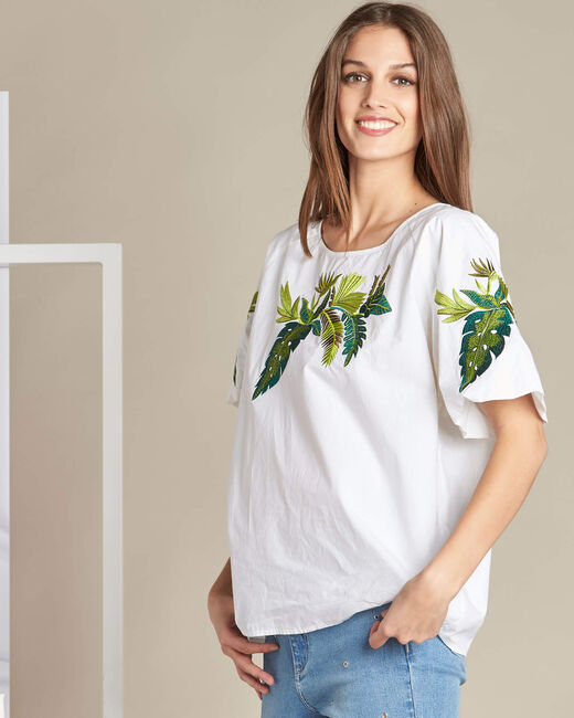 Grace white blouse with embroidered leaves. (2) - 1-2-3