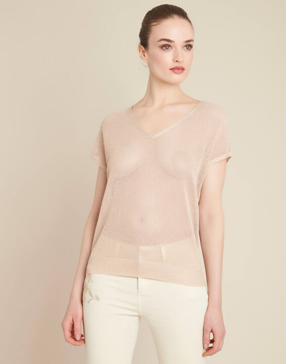 Noix short-sleeved fine-knit gold sweater (3) - 1-2-3