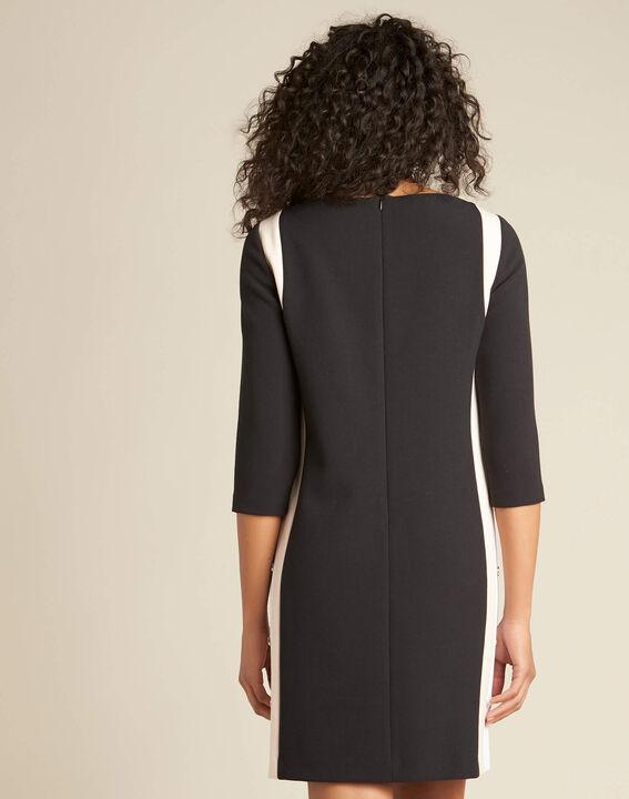 Schwarzes Kleid mit kontrastierender Patte und seitlichen Knöpfen Pistache (4) - 1-2-3