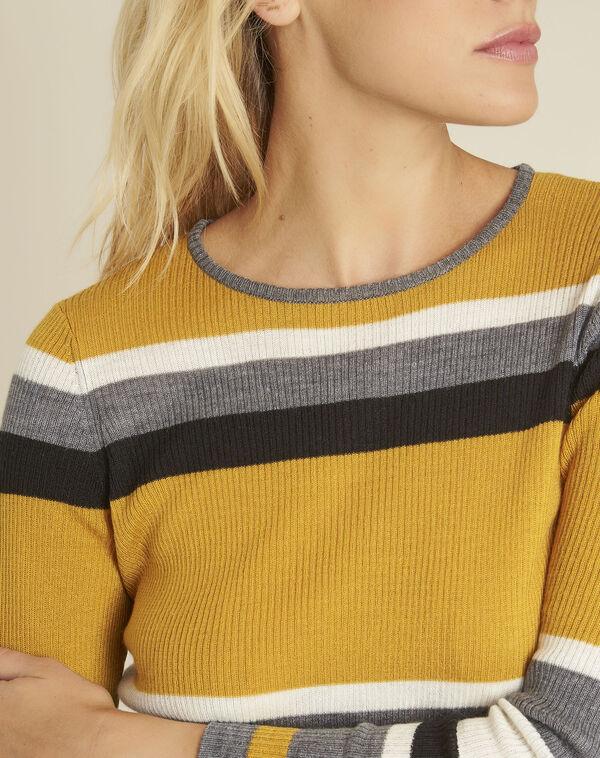 Amberkleurige trui met strepen van gemengd wol Bastien (2) - 37653