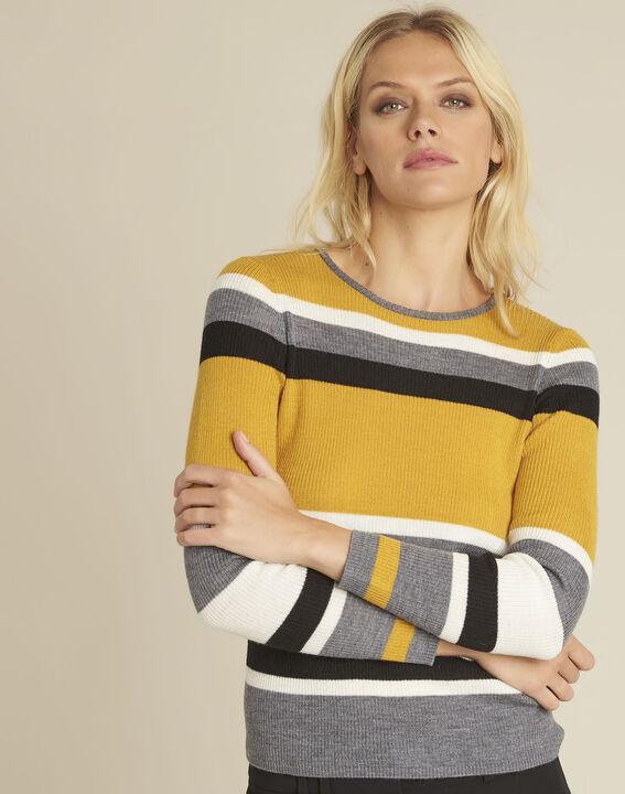 Amberkleurige trui met strepen van gemengd wol Bastien PhotoZ | 1-2-3