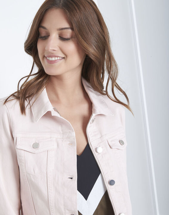 Kurze, puderfarbene Jacke aus Jeansstoff Clem (3) - Maison 123