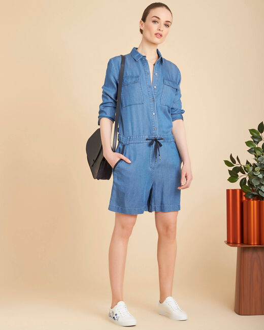 Pastille indigo cropped playsuit (1) - 1-2-3