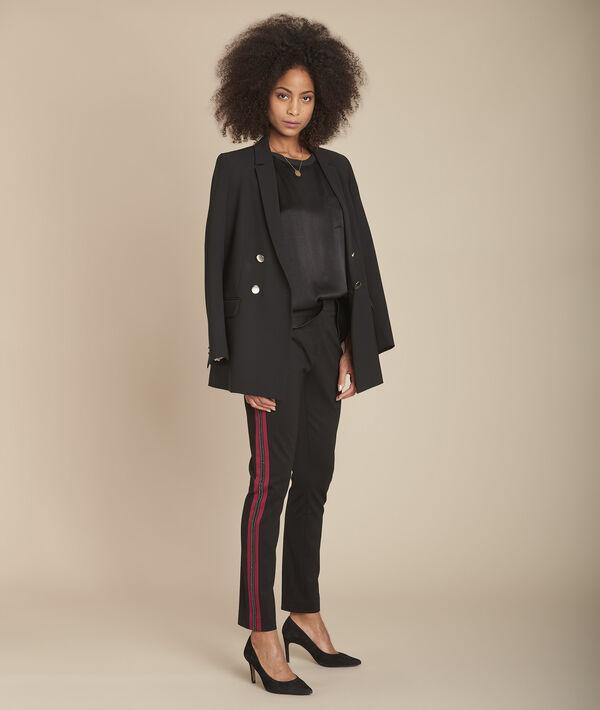 Pantalon noir milano cropped bande fantaisie Elane PhotoZ | 1-2-3