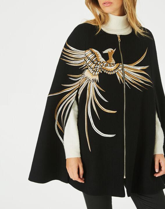 Joenix black, zipped wool cape with embroidered phoenix PhotoZ | 1-2-3
