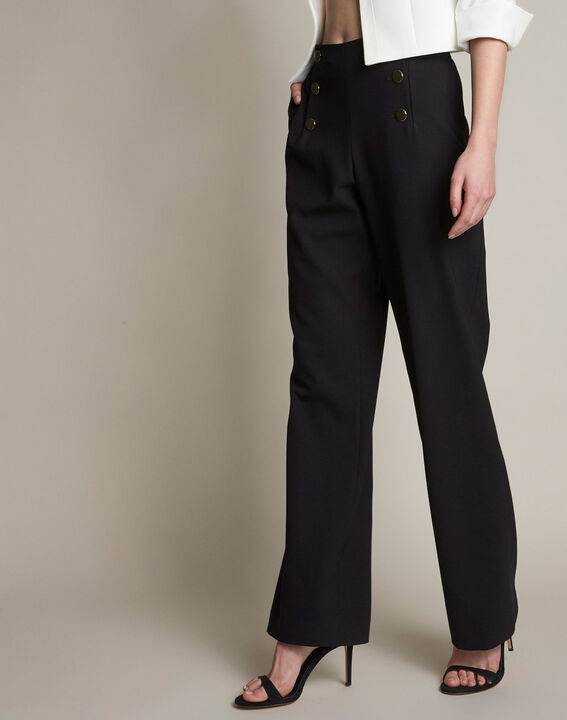 Wide-leg black buttoned trousers (2) - 1-2-3