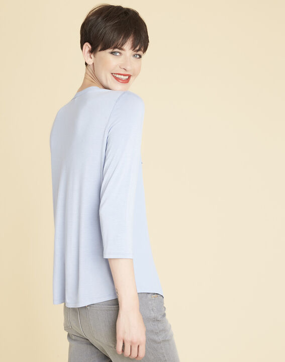 Genna V-neck azure blue dual-fabric blouse (4) - 1-2-3