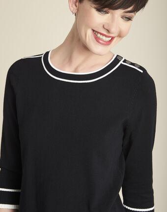 Pull noir bords côtes contrastés bella noir.