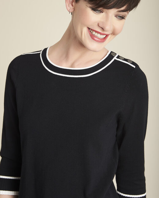 Bella black sweater with contrasting ribbed trim (1) - 1-2-3