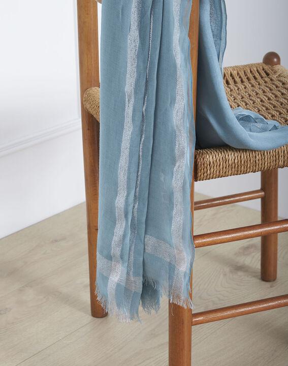 Foulard bleu ciel en viscose détail lurex Orelia (2) - Maison 123