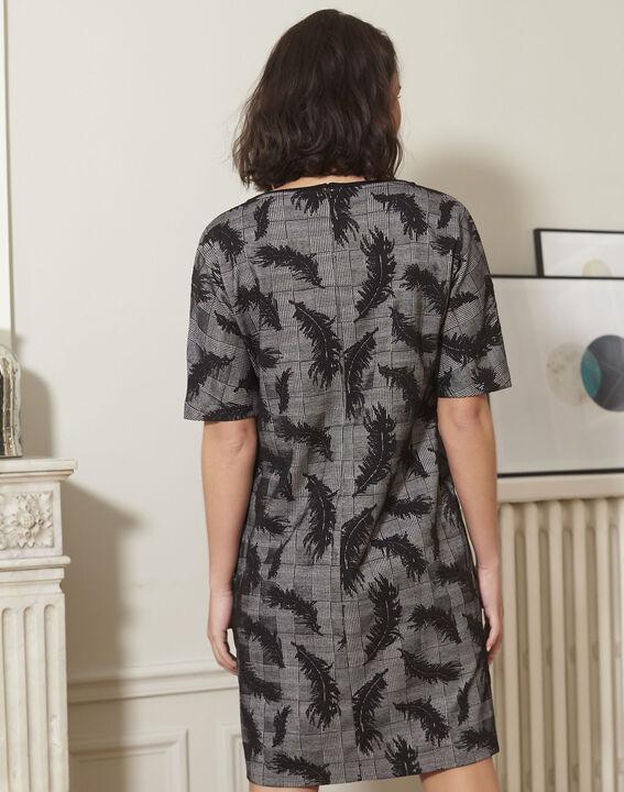 3a3dfa83ff82 ... Graues Kleid mit Feder-Print Destiny (4) - 1-2-3