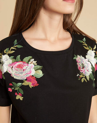 Garou black t-shirt with floral design black.