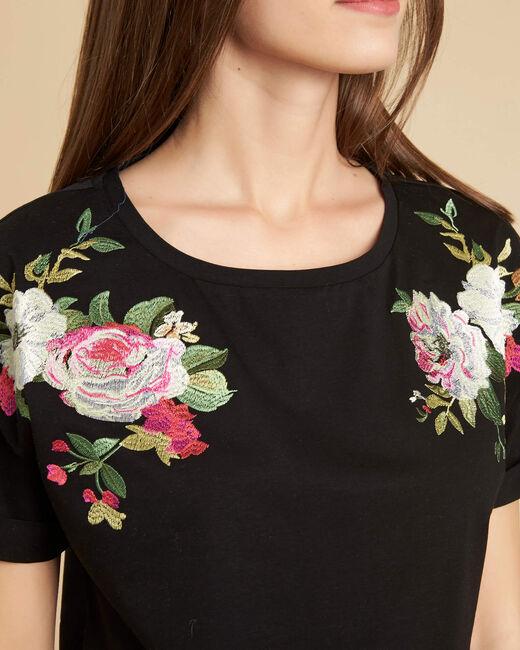 Tee-shirt noir à fleurs Garou (2) - 1-2-3