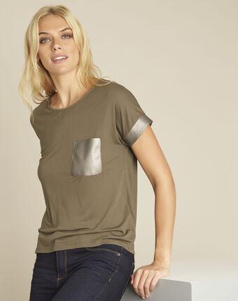 Gimini khaki t-shirt with faux leather panel leaf.