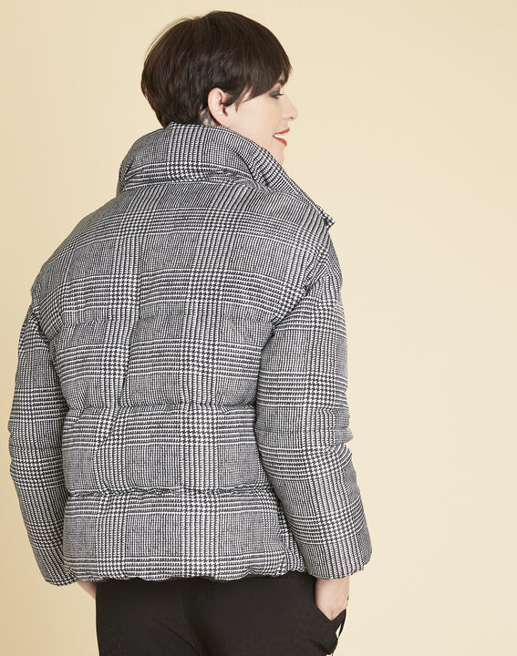 Grey down jacket printed with houndstooth check (4) - 1-2-3