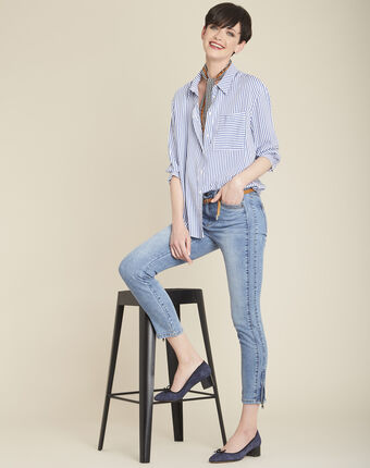 Opéra bleached-look jeans with zipped detailing light indigo.