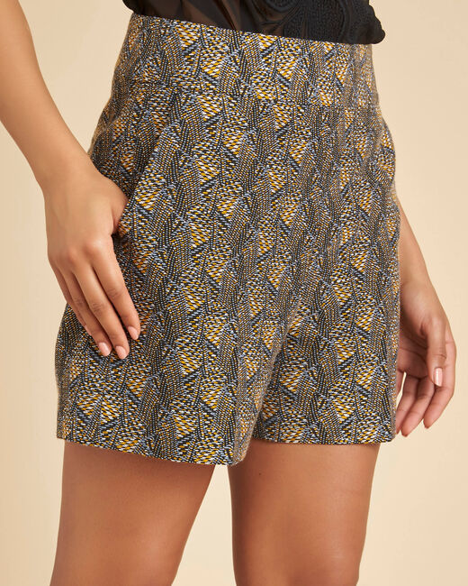 Stak ethnic Jacquard shorts in camel (2) - 1-2-3