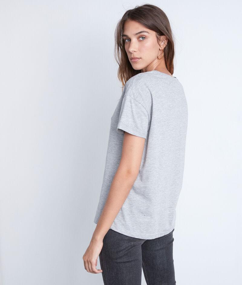 Tee-shirt à message en coton gris clair Emy PhotoZ | 1-2-3