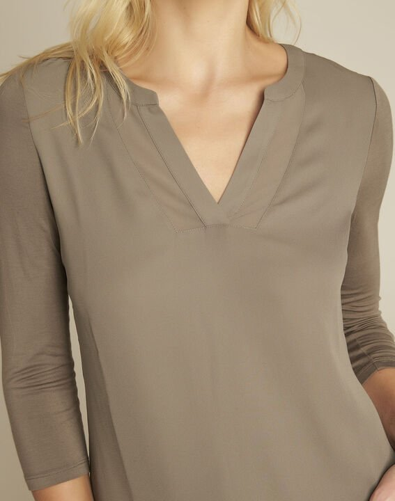 Blanca khaki blouse with netting along its V-neck (3) - 1-2-3