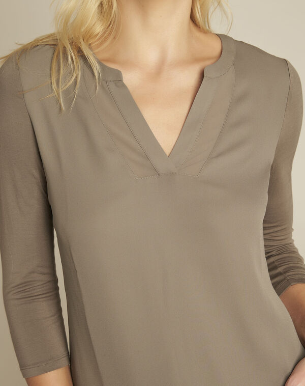 Blanca khaki blouse with netting along its V-neck (2) - 1-2-3