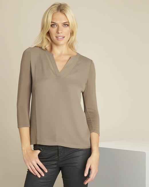 Kakifarbene Bluse mit V-Ausschnitt mit Netzstoff Bianca (2) - 1-2-3