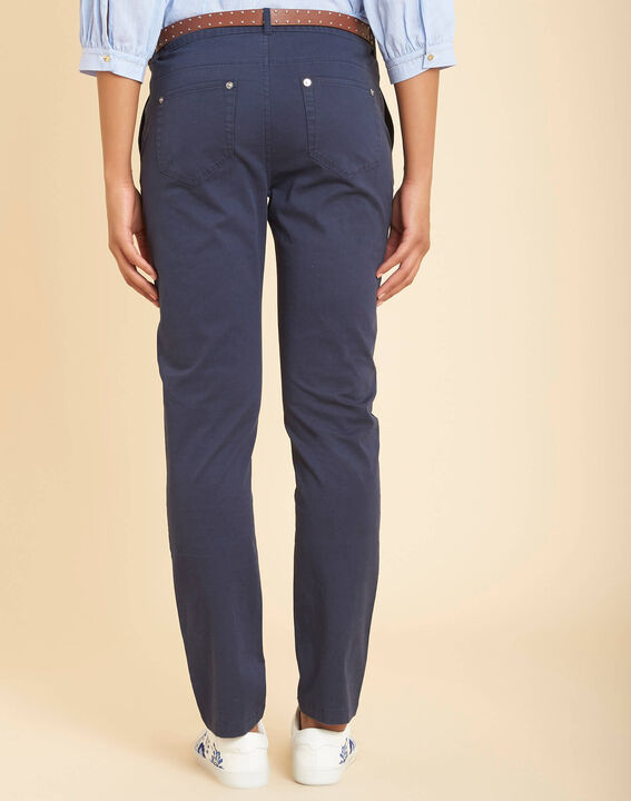 Francis slim-cut cotton 7/8 length trousers in navy blue (4) - 1-2-3