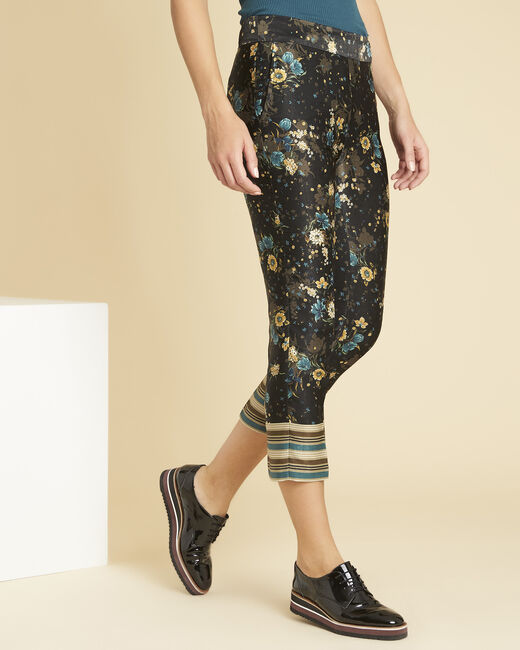 Harmonie navy blue straight-cut trousers with floral print (2) - 1-2-3