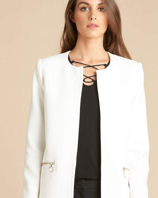 Kaya white straight-cut 3/4 length dress with zip detailing (2) - 1-2-3