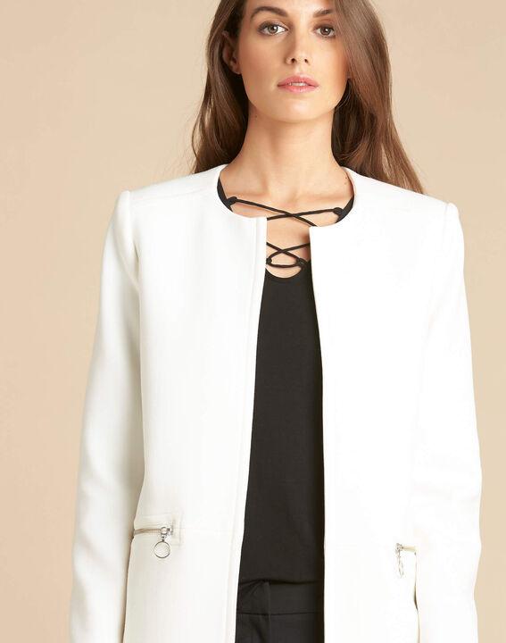 Manteau blanc droit 3/4 détails zips Kaya (1) - 1-2-3