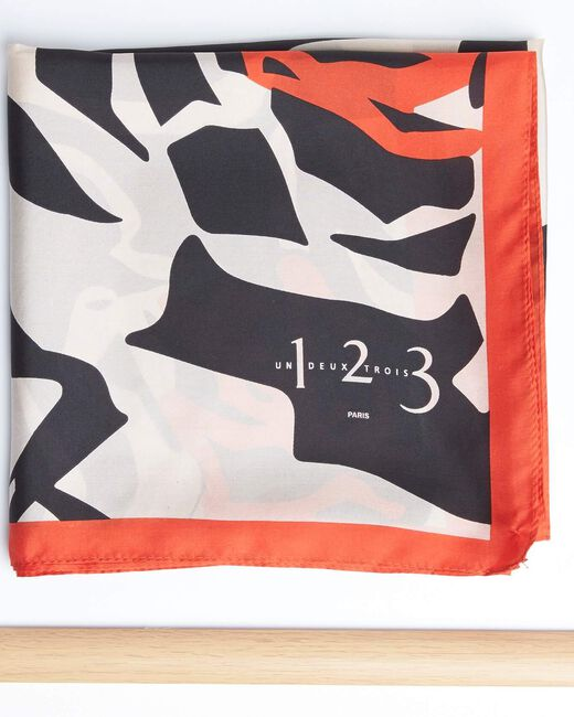 Angel orange graphic floral printed square scarf in silk (1) - 1-2-3