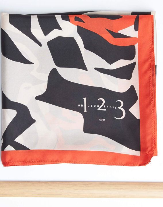 Angel orange graphic floral printed square scarf in silk (2) - 1-2-3
