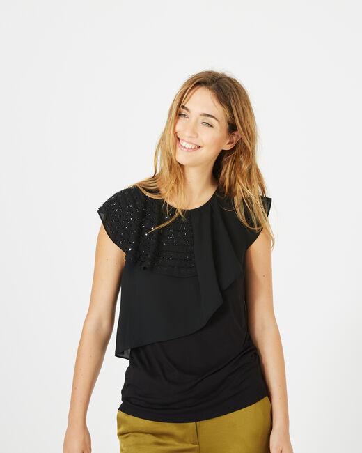 Tee-shirt noir basque volantée Bella (2) - 1-2-3