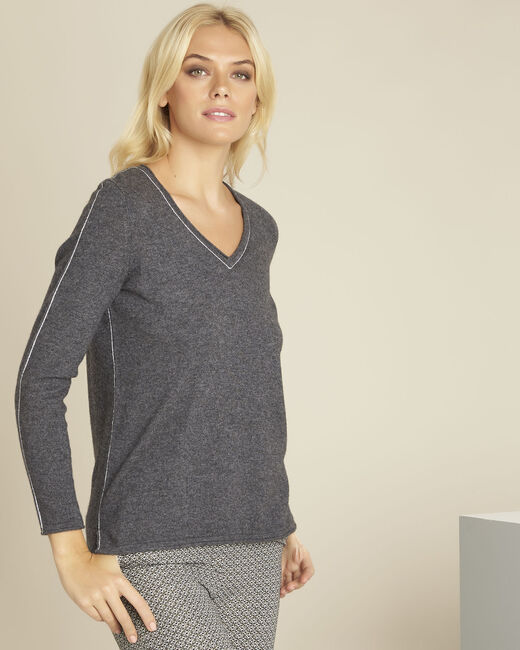 Pull gris laine cachemire maille fine boogie (2) - 1-2-3