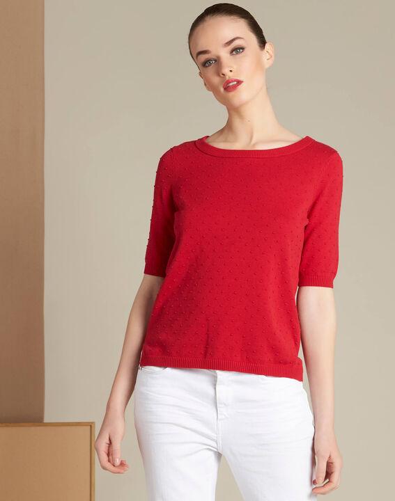 Roter Pullover mit rückseitiger Schleife Nadia (3) - 1-2-3