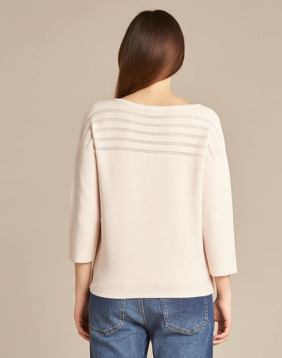 Hypnose pale pink sweater with sheer stripes (4) - 1-2-3