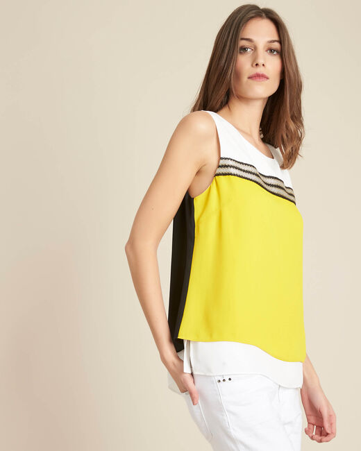 Gloriosa sleeveless yellow flowing top (2) - 1-2-3