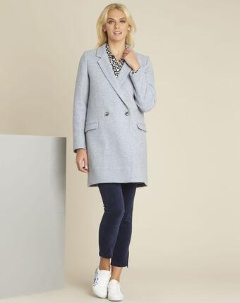 Manteau bleu azur croisé en laine eclat bleu ciel.