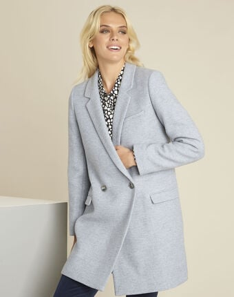 Eclat azure blue cross-over wool coat sky blue.
