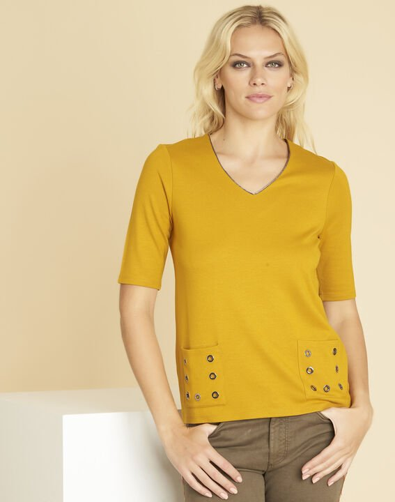 Goeland yellow T-shirt with eyelet detailing on the pockets PhotoZ | 1-2-3