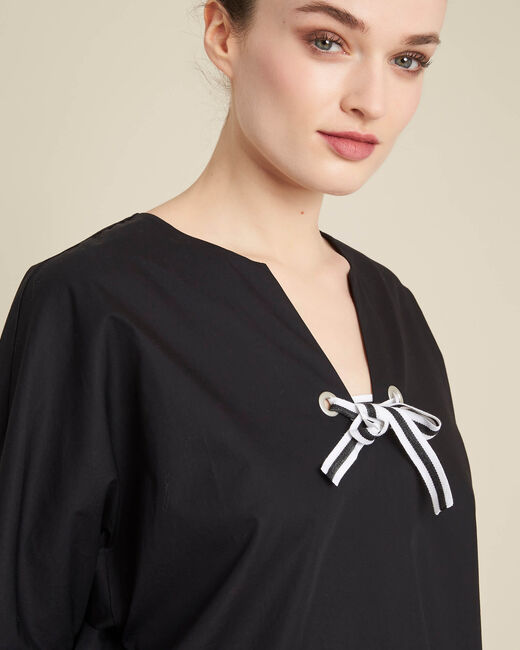 Gianna black poplin blouse with ribbon (1) - 1-2-3