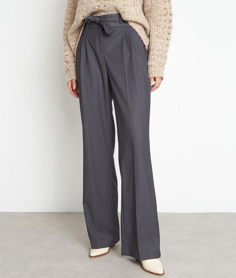 Pantalon taille haute large gris foncé Diogene  PhotoZ   1-2-3
