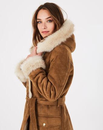 Manteau camel mi-long en peau lainée lemilia camel.