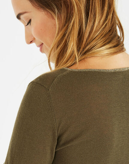 Pétillant khaki sweater with metallic threading (4) - 1-2-3