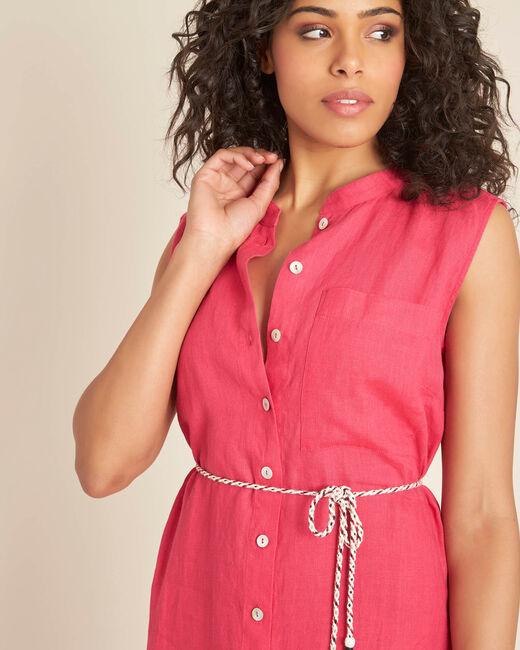 Papillon log fuchsia linen shirt-dress (2) - 1-2-3