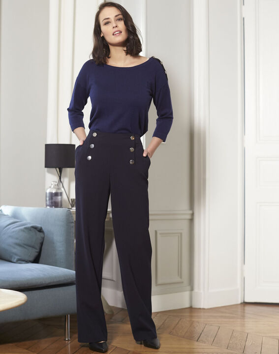 Betty navy blue sweater with decorative detailing on the shoulders (2) - 1-2-3