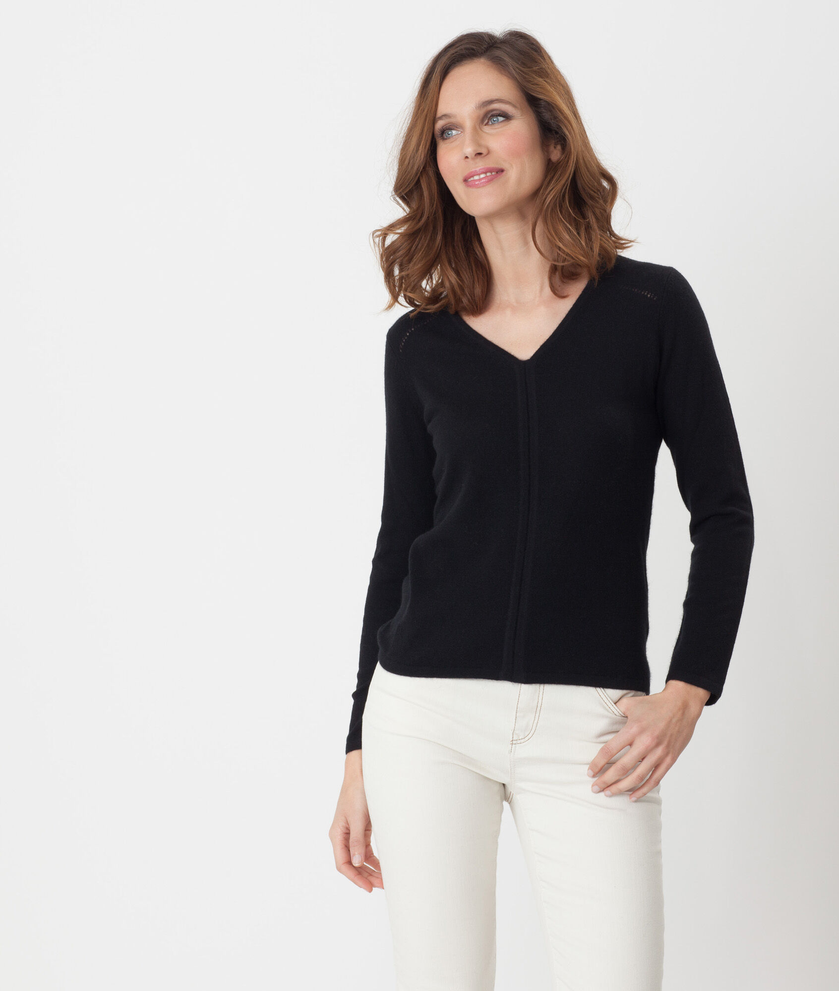 Heart black cashmere sweater - 123