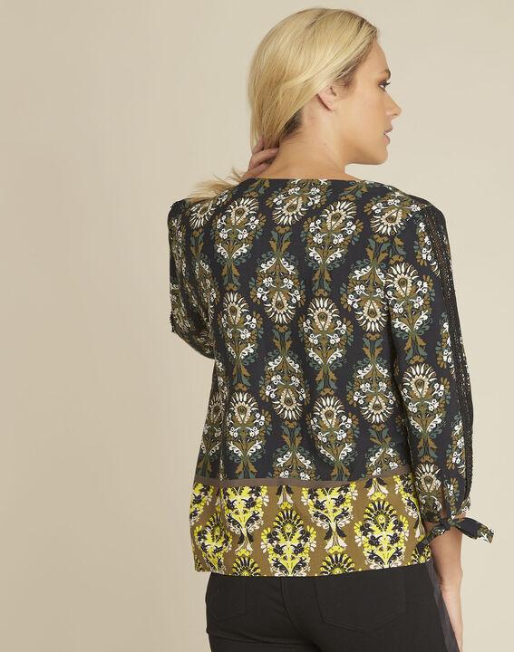 blouse noire imprimé fleuri Chams (4) - 1-2-3