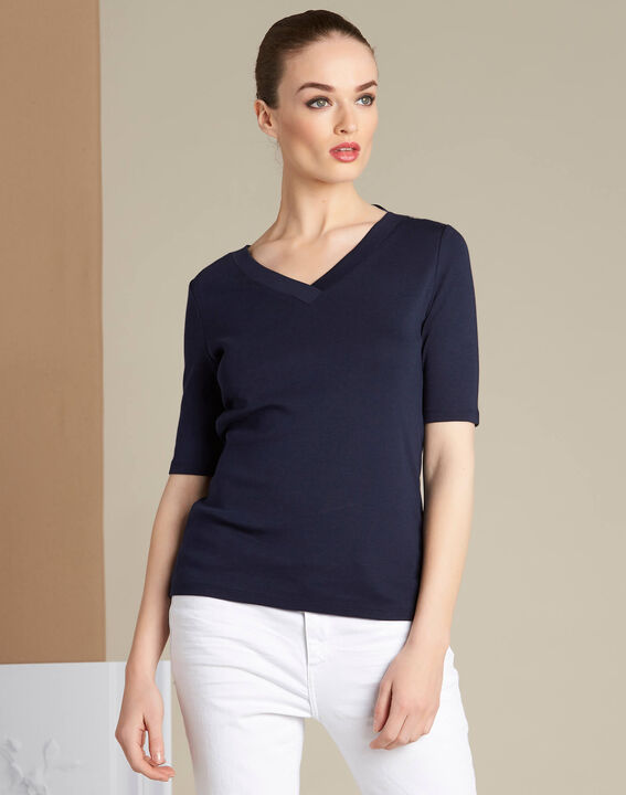 Ecume navy blue T-shirt with eyelet detailing on the shoulders (3) - 1-2-3